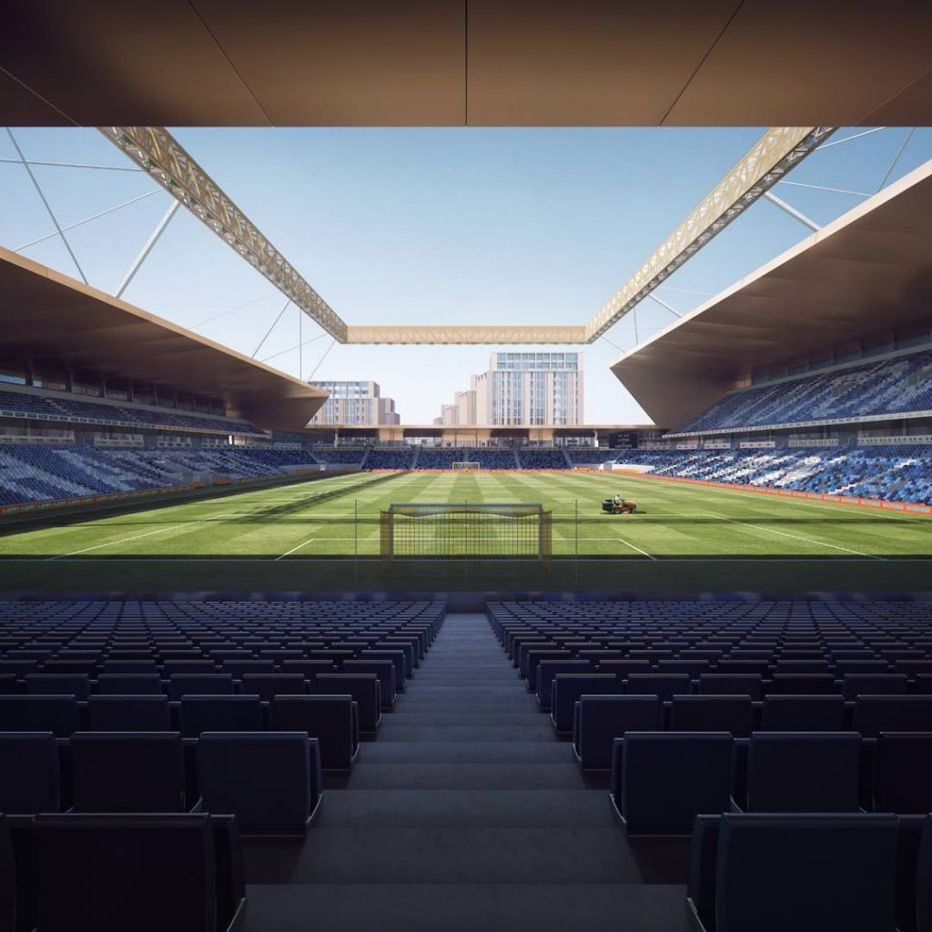 An artist's impressions of the inside of Luton Town FC's proposed new stadium at Power Court