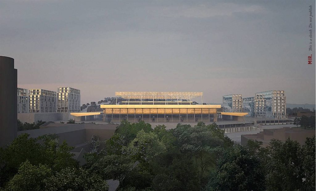 An artist's impression of the exterior of Luton Town Football Club's stadium at Power Court